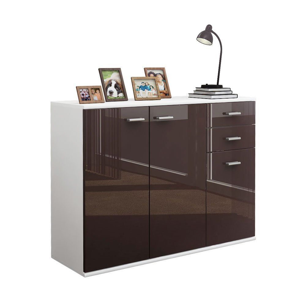 Sideboard Kommode Solo V3 In Weiss Schoko Hochglanz Amazon De