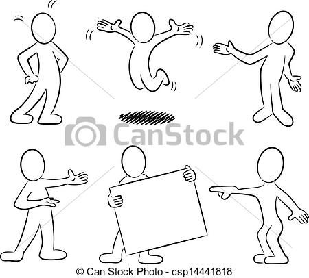 Vector - cartoon people black and white - stock illustration ...