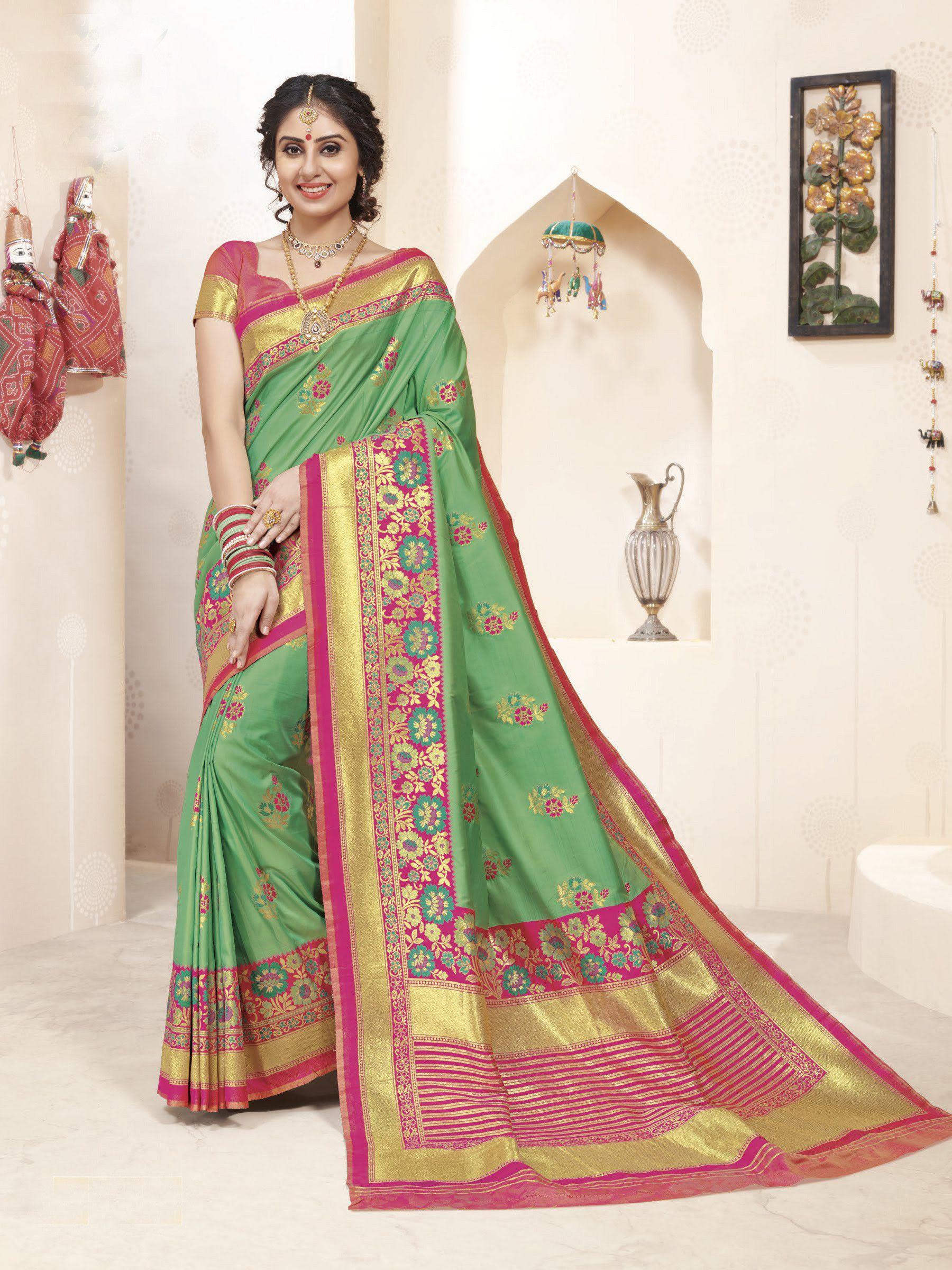 b9350f0cfd Buy online Sea Green with Pink colour designer heavy Banarasi silk saree at  joshindia