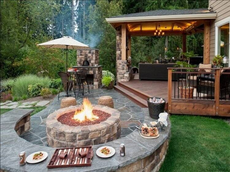 terrasse und feuerstelle garten pinterest terrasse. Black Bedroom Furniture Sets. Home Design Ideas