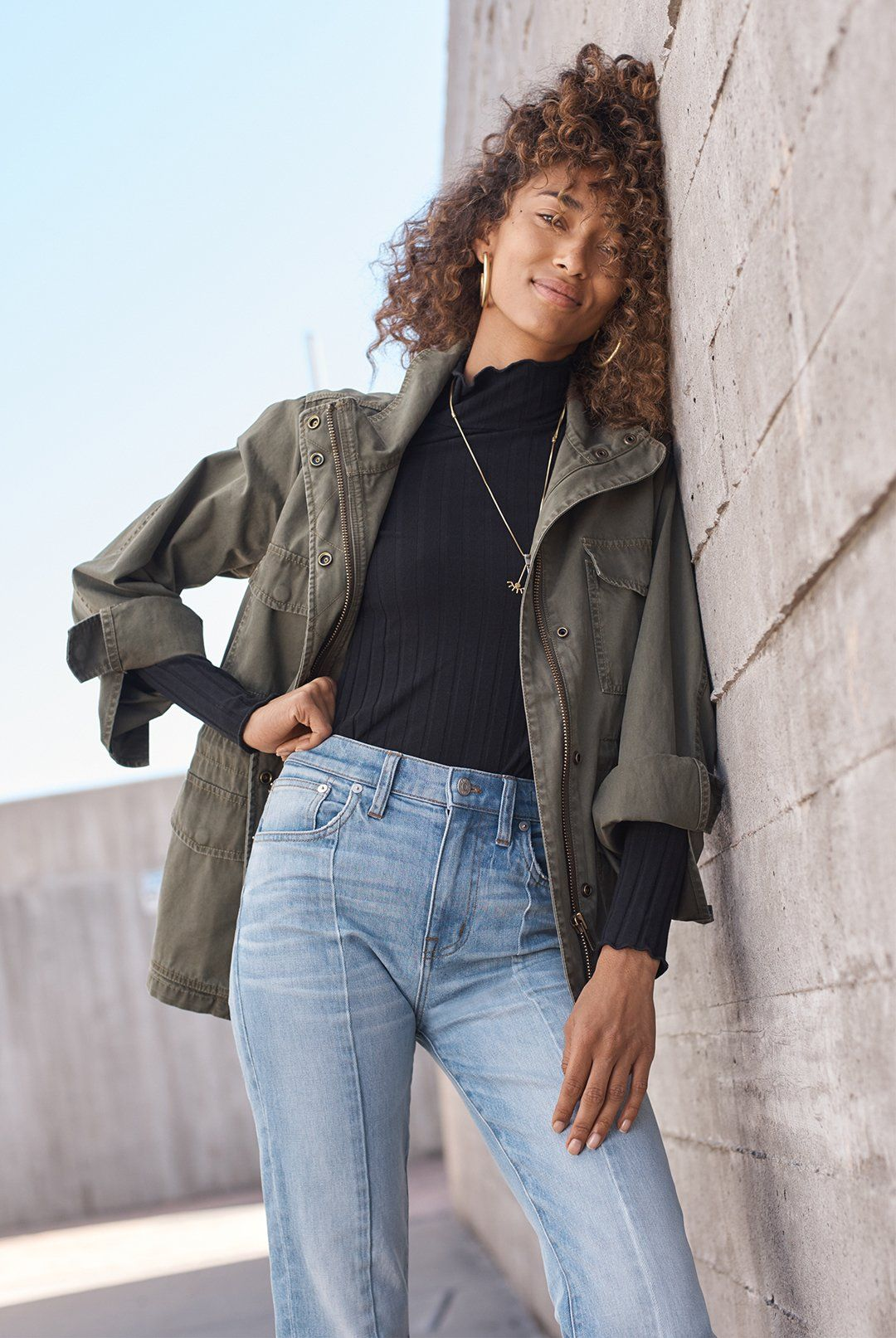 97826cae704 madewell surplus jacket worn with cruiser straight jeans