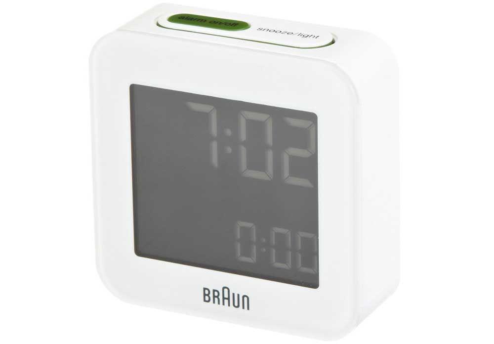 Braun Bnc008 Modern White Digital Travel Alarm Clock