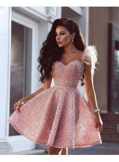 Luxus Rosa Cocktailkleider Kurz A Linie Abendkleider Mini ...