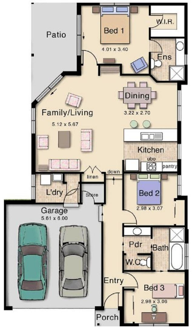 Plano de casa de 130 m2 con dos cocheras planos for Planos arquitectonicos de casas de dos plantas