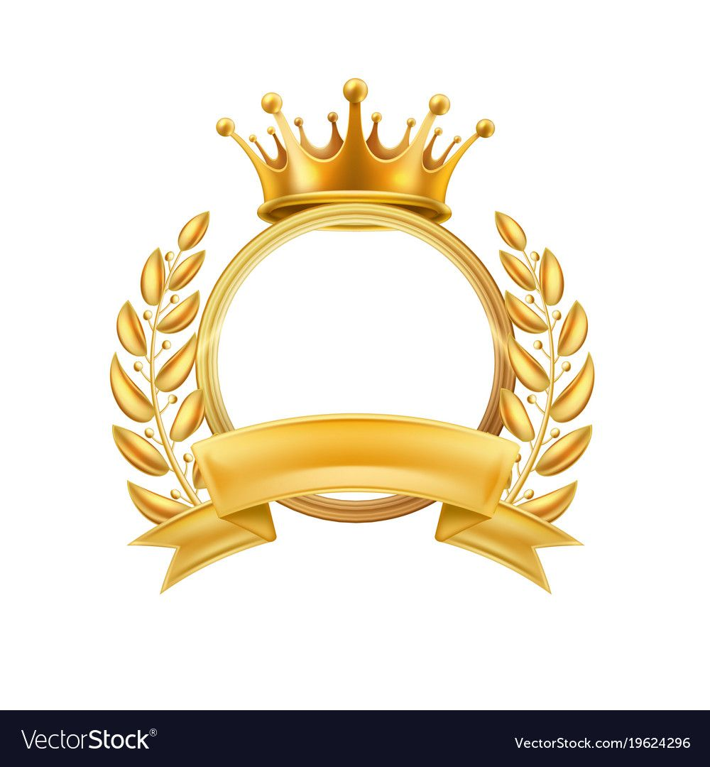 Gold Crown Laurel Wreath Winner Frame Vector First Place Champion Sign With Golden Ribbon With Circle Royal Lux Gold Crown Laurel Wreath Crown Tattoo Design