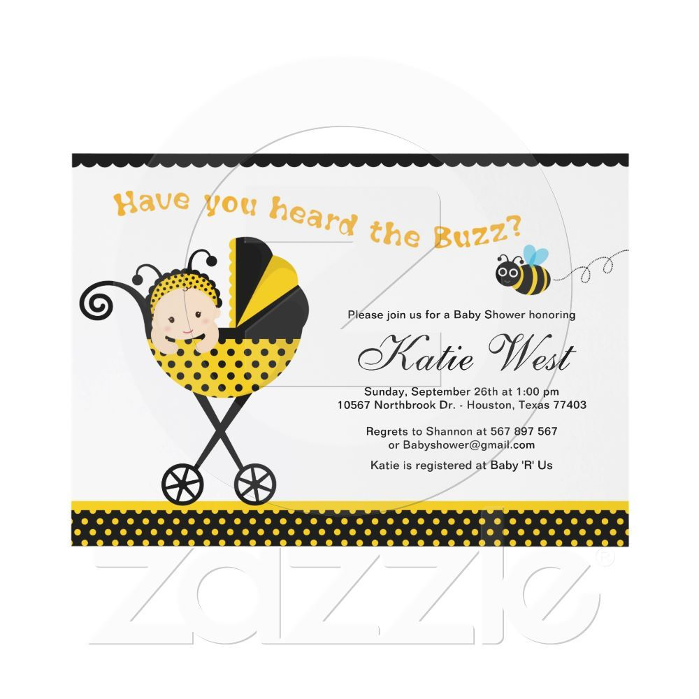BUmble Bee Baby Shower Invitation from Zazzle.com | Birds and Bees ...