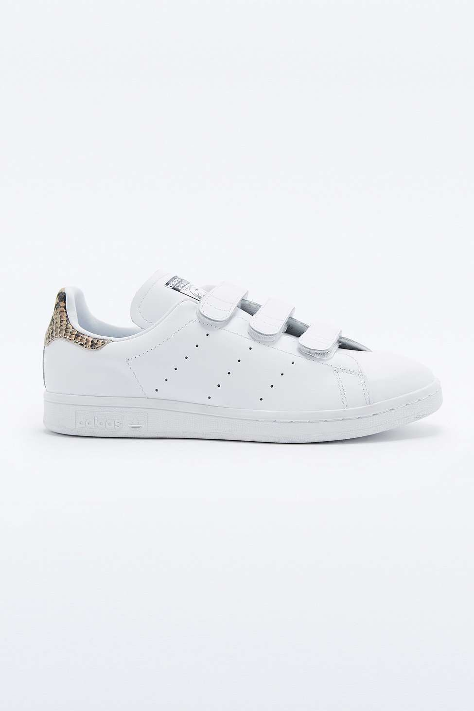 adidas Originals White Snake Velcro Stan Smith Trainers ...