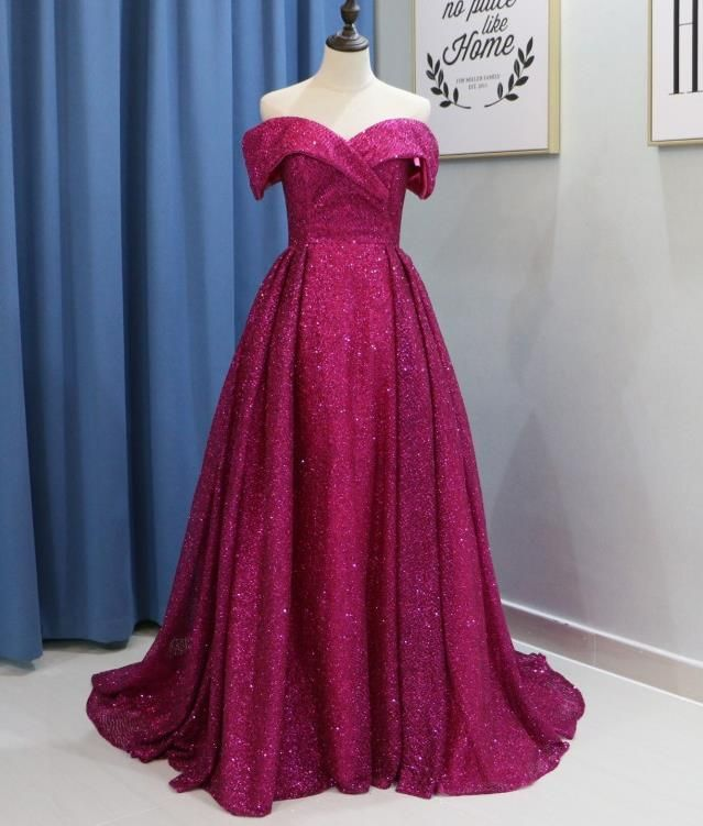 b524b1ac328 Glitter Long Prom Dresses Off the Shoulder Evening Party Dress ...