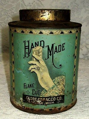 Original Antique Vintage HAND MADE Globe Tobacco Round Tin Can ~ Great Graphics!