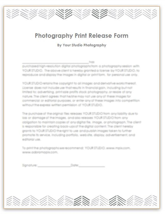 photography print release template  photographer form