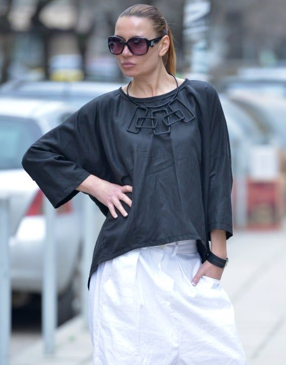 Clothing Linen Top/Summer Top/Oversized Loose Extra Large Black Blouse/Asymmetric Tunic Top/ TP0526LE  … #linentunic