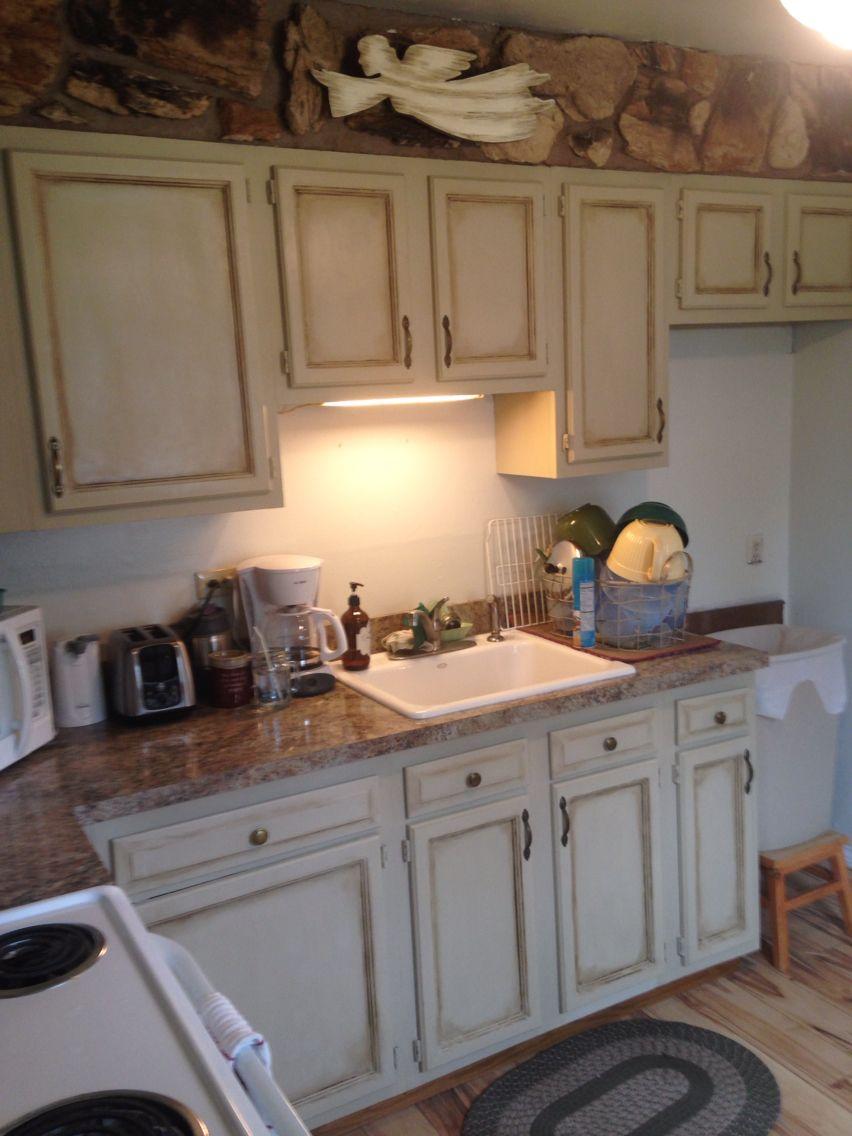 Kitchen redo in ASCP Country Grey with heavy dark wax ...