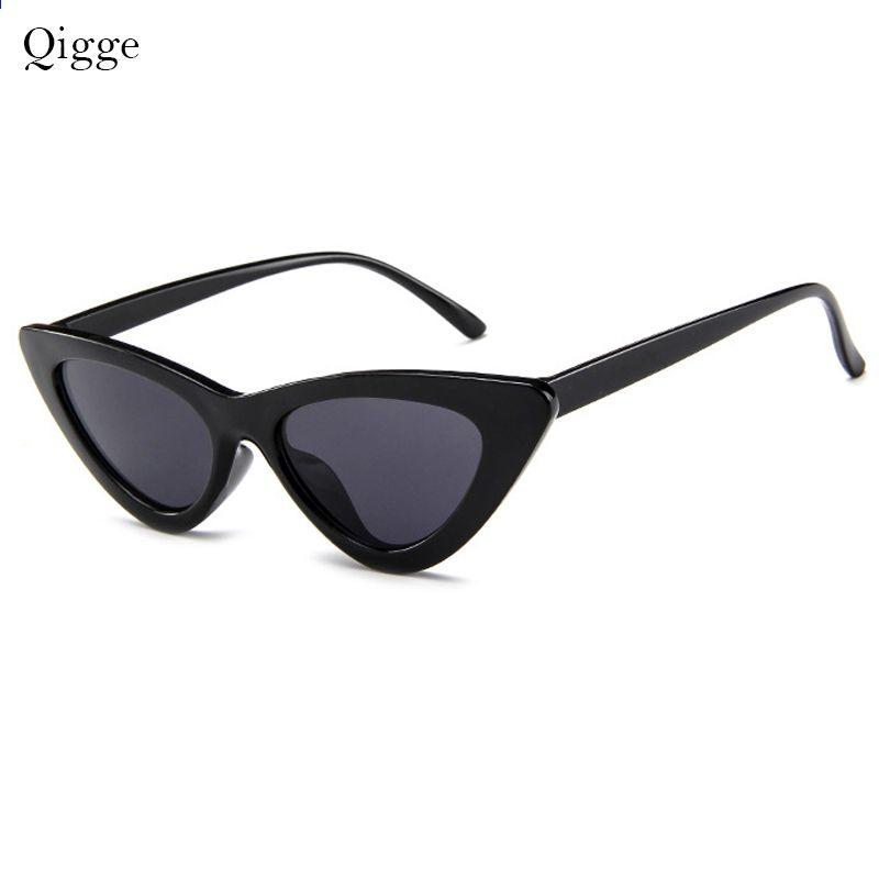 e0968da16 Qigge Krásné kočičí oko Retro Kočka Sluneční brýle Dámské 2018 Triangle  Moderní Vintage Levné sluneční brýle