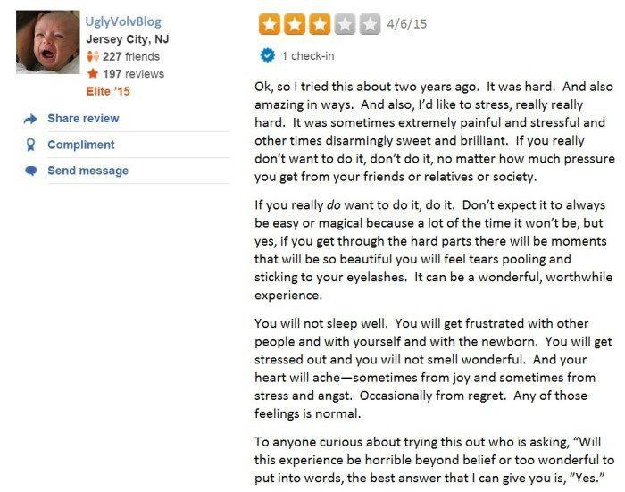 Yelp reviews of newborns