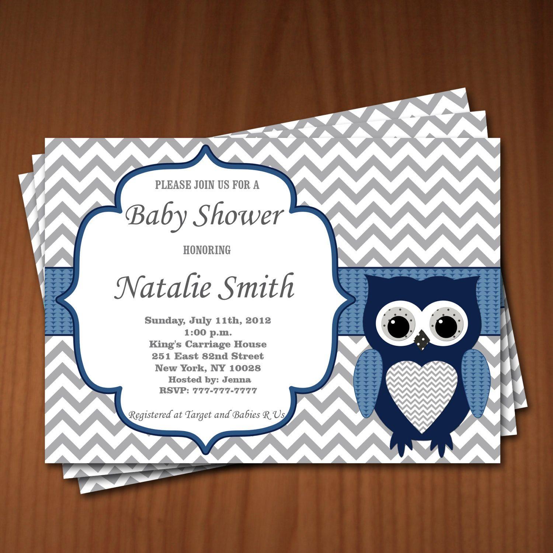 Owl Baby Shower Invitation Boy Baby Shower invitations Printable ...