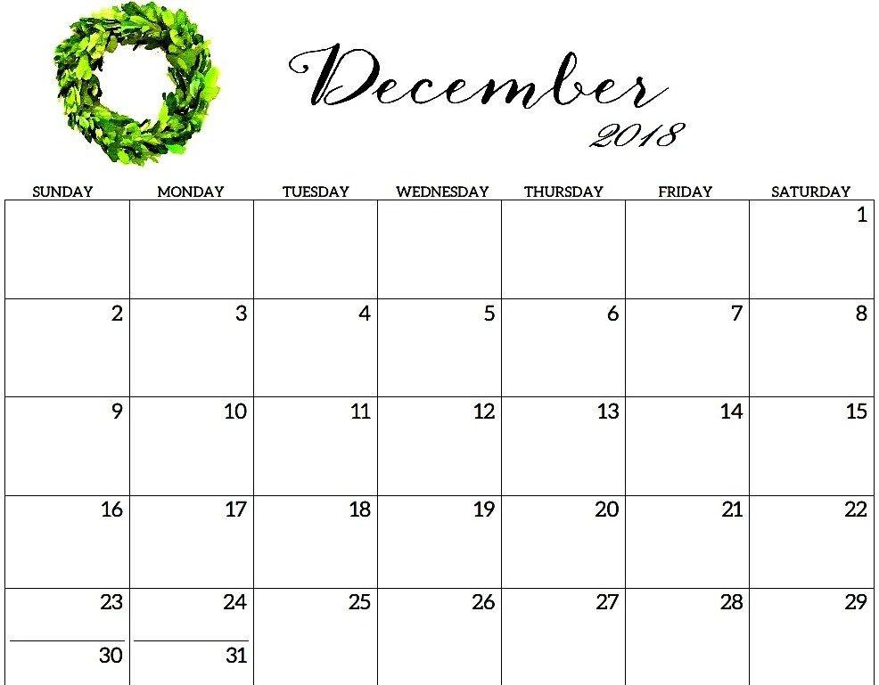 December 2018 Calendar For Kids December 2018 Calendar For Kids