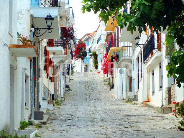 Skiathos Greece town street Skiathos Greece