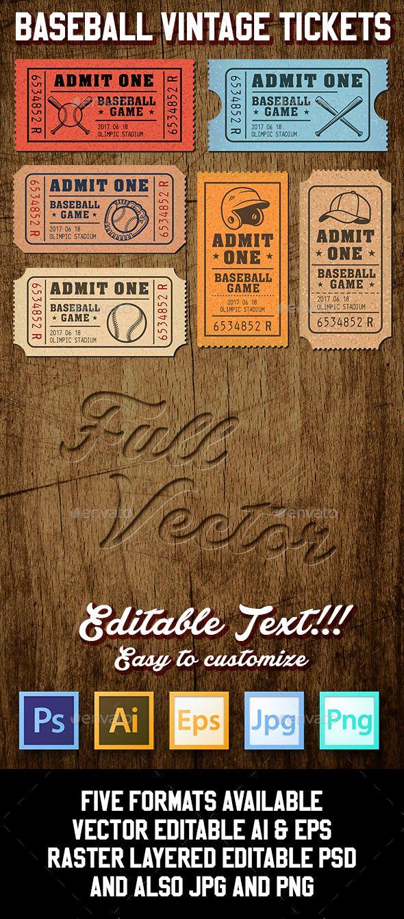 Vector Editable Baseball Tickets | Pinterest | Ticket template ...