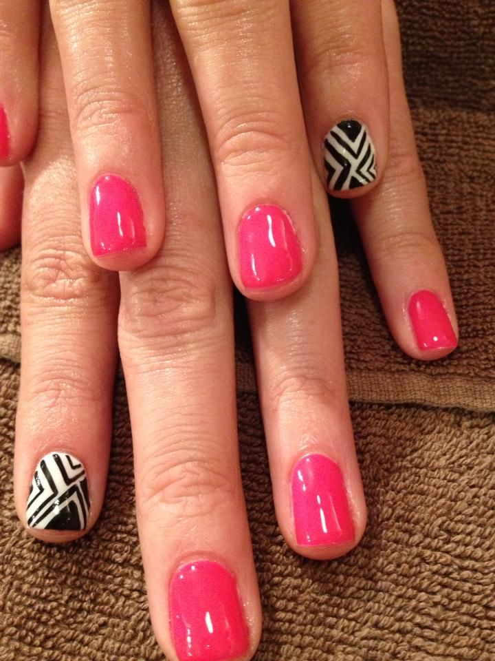 Black white geo pink nails patricia did these at - Dolce salon chandler ...
