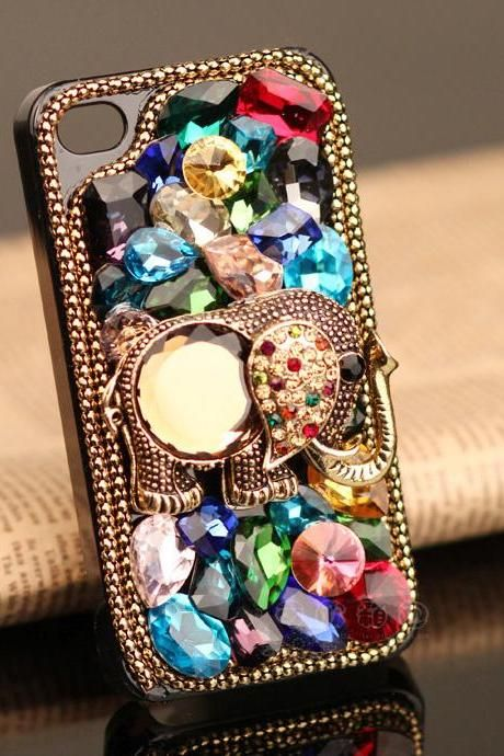 Iphone 4 case ,Iphone 5 case ,luxury iphone case . Elephant iphone case .rhinestone iphone case. Bling iphone 4 case