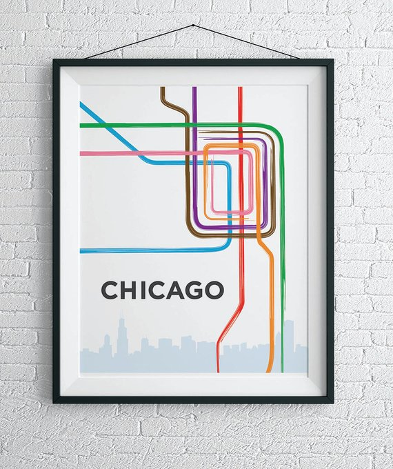 Chicago L Train Map Print Chicago Loop Wall Art In 2019 Products