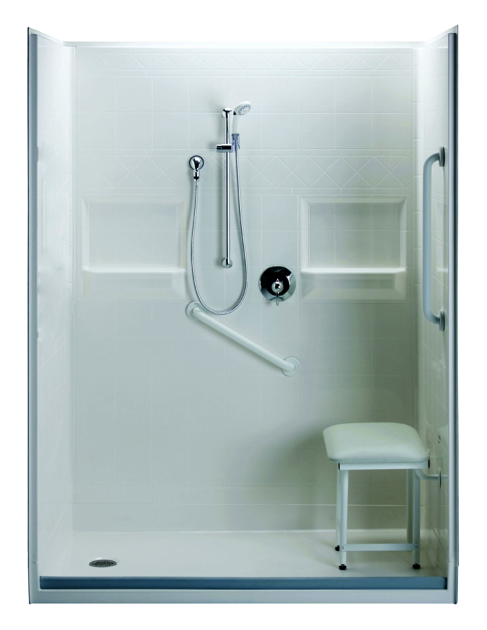 Roll in shower with built in padded seat   Bathroom mod   Pinterest ...