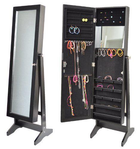 Armoire à bijoux avec miroir 145 cm noir   Your #1 Source for ...