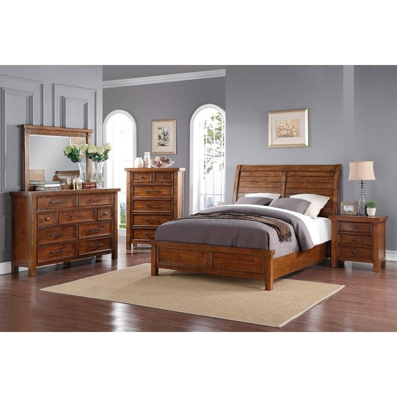 A maple finish gives a contemporary wood bedroom set a more ...