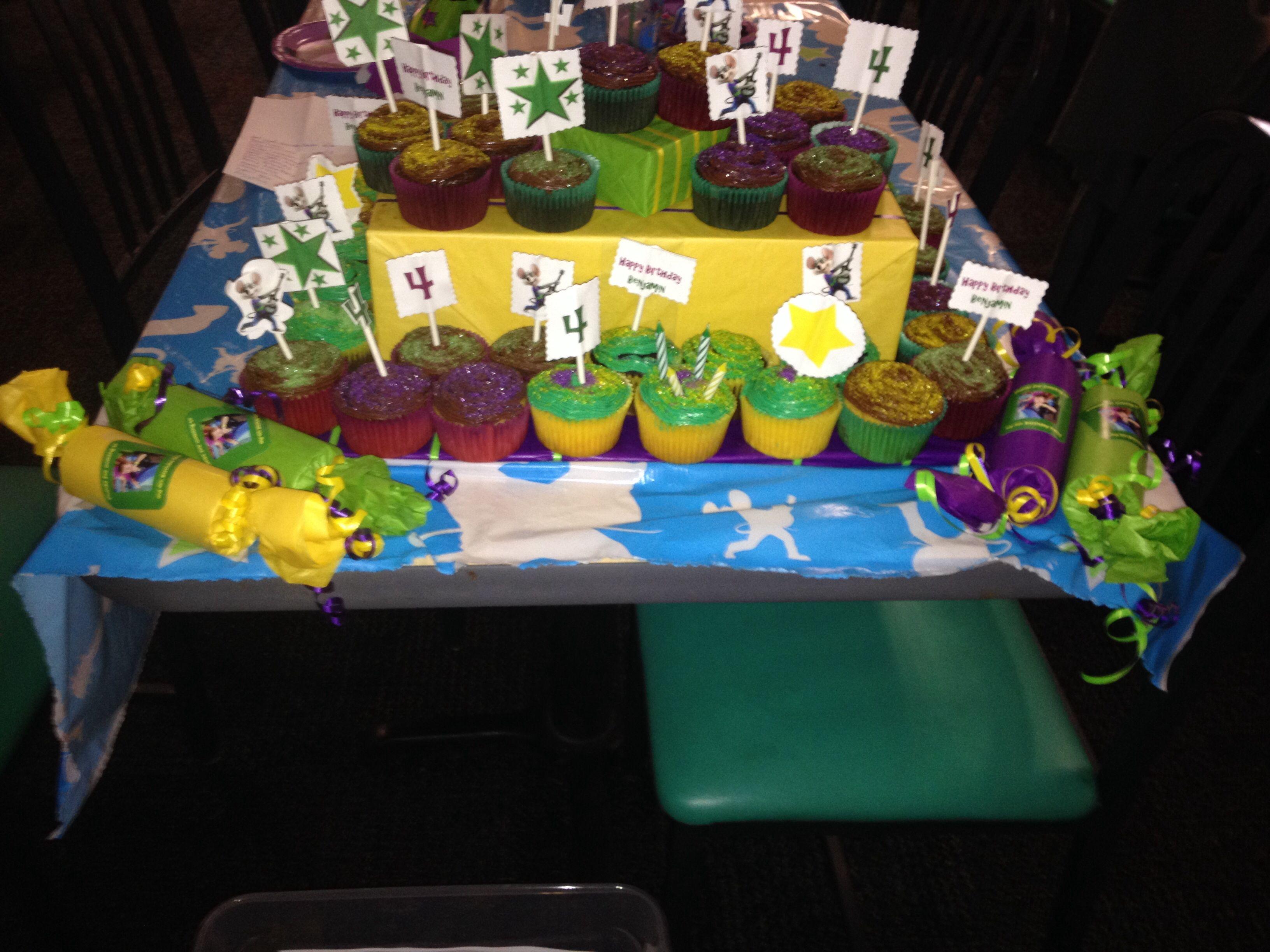 Chuck E Cheese DIY cupcakes cupcake toppers thank you goodies