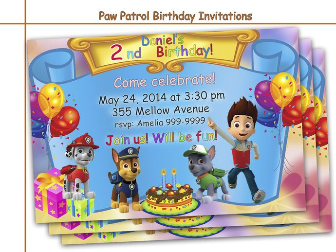 paw patrol invitations free - Αναζήτηση Google | PAW PATROL Party ...