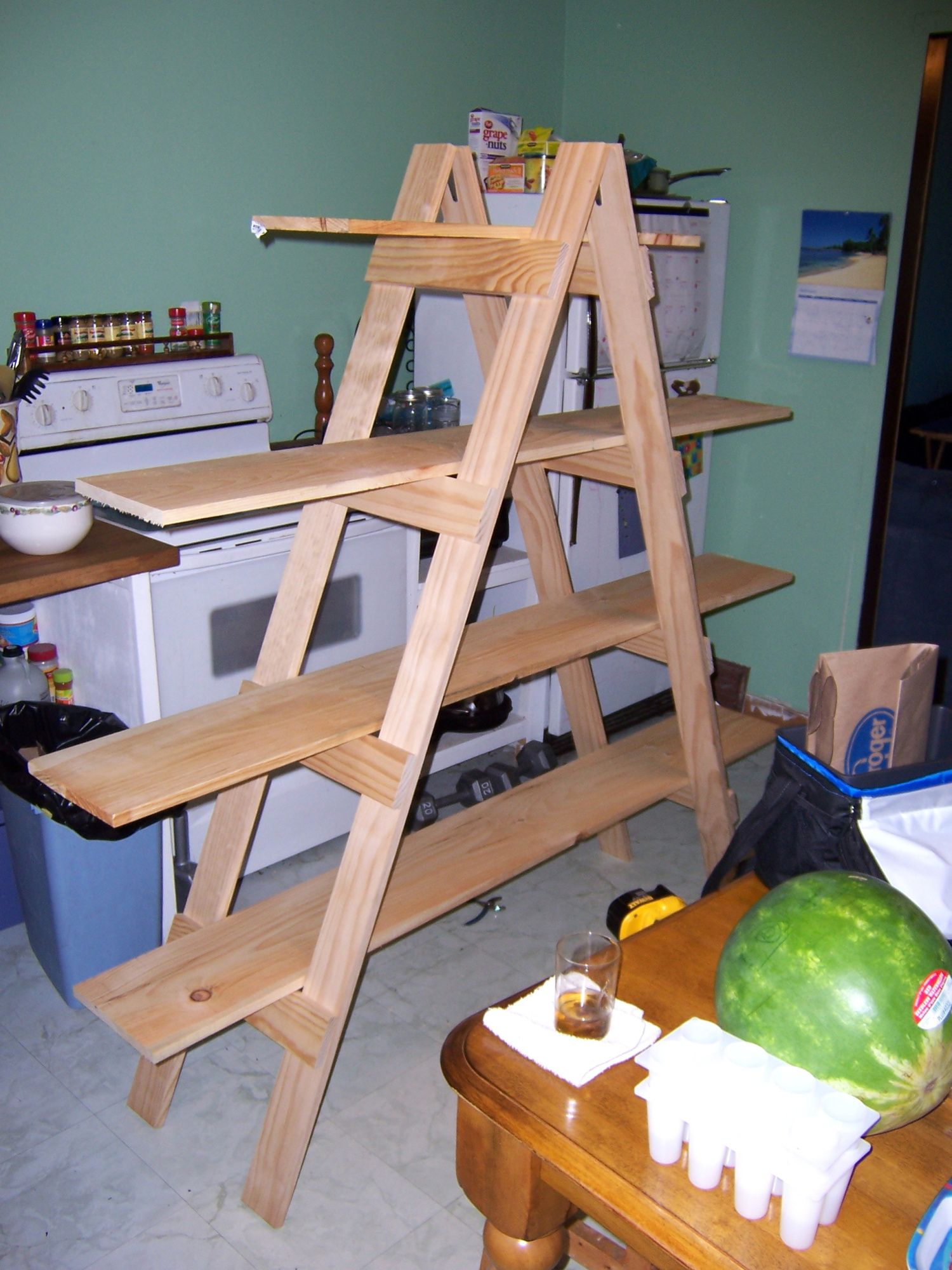 Make your own ladder shelf for your craft show display shelves