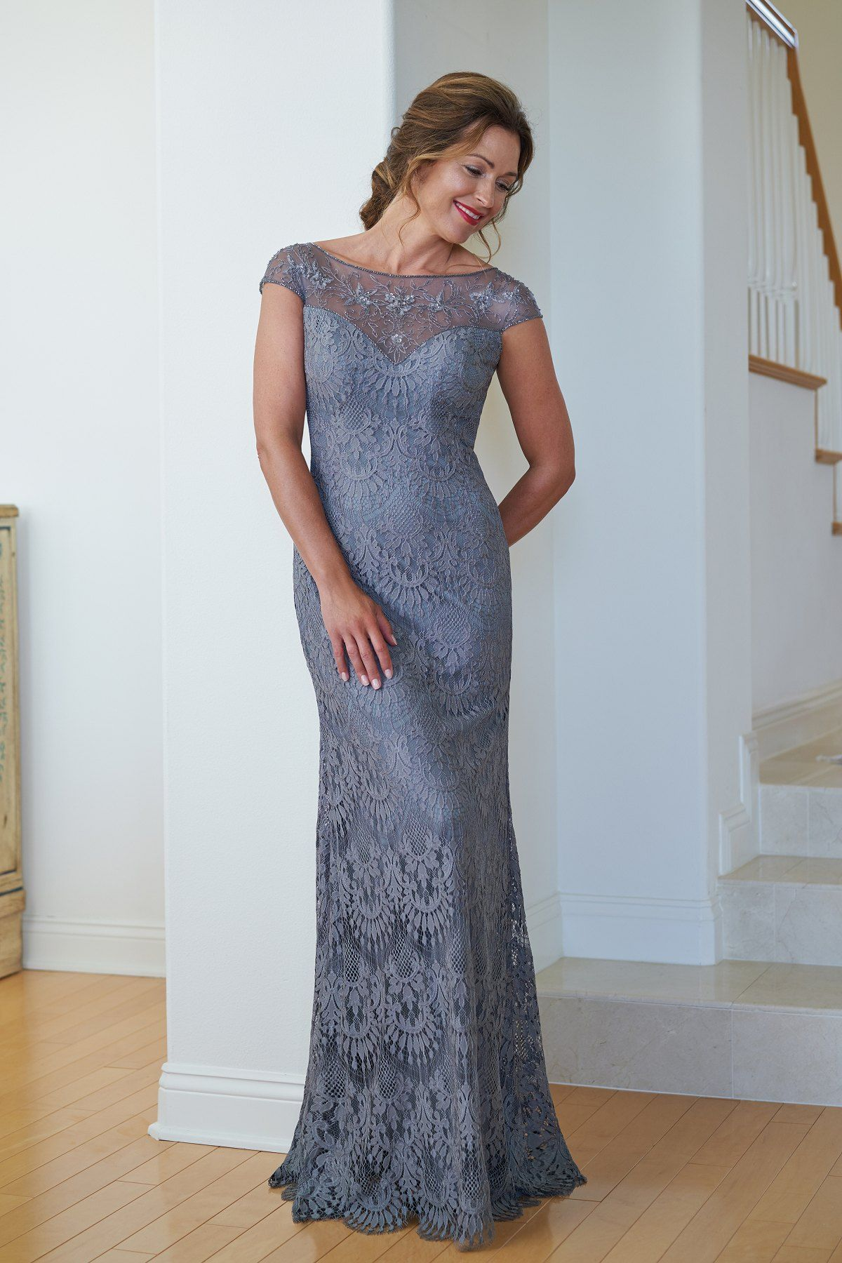 3f1c511b09 K218012 Lace MOB Dress with Beaded Boat Neckline