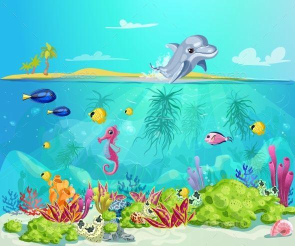 Cartoon Sea Life Template Sea Life Marine Plants Sea Animals