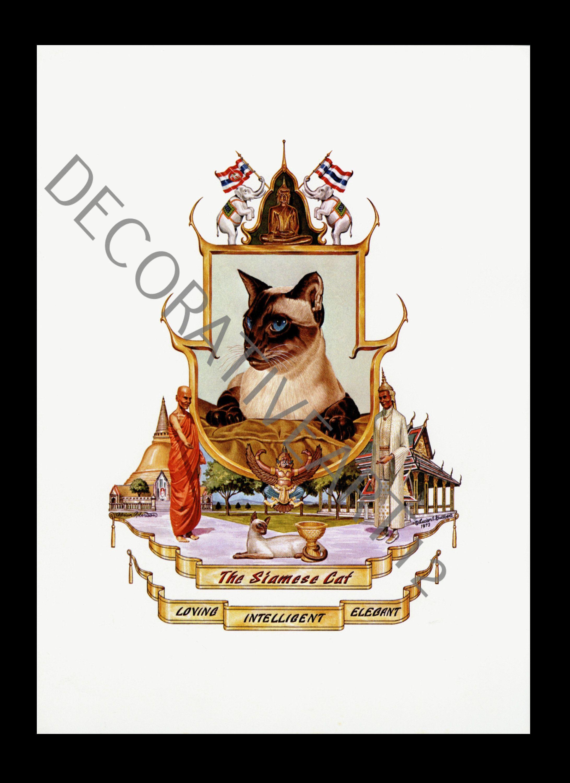 Vintage Heraldry Coat Of Arms Burmese Cat 4 Color Lithograph Etsy In 2020 Coat Of Arms Heraldry Lithograph