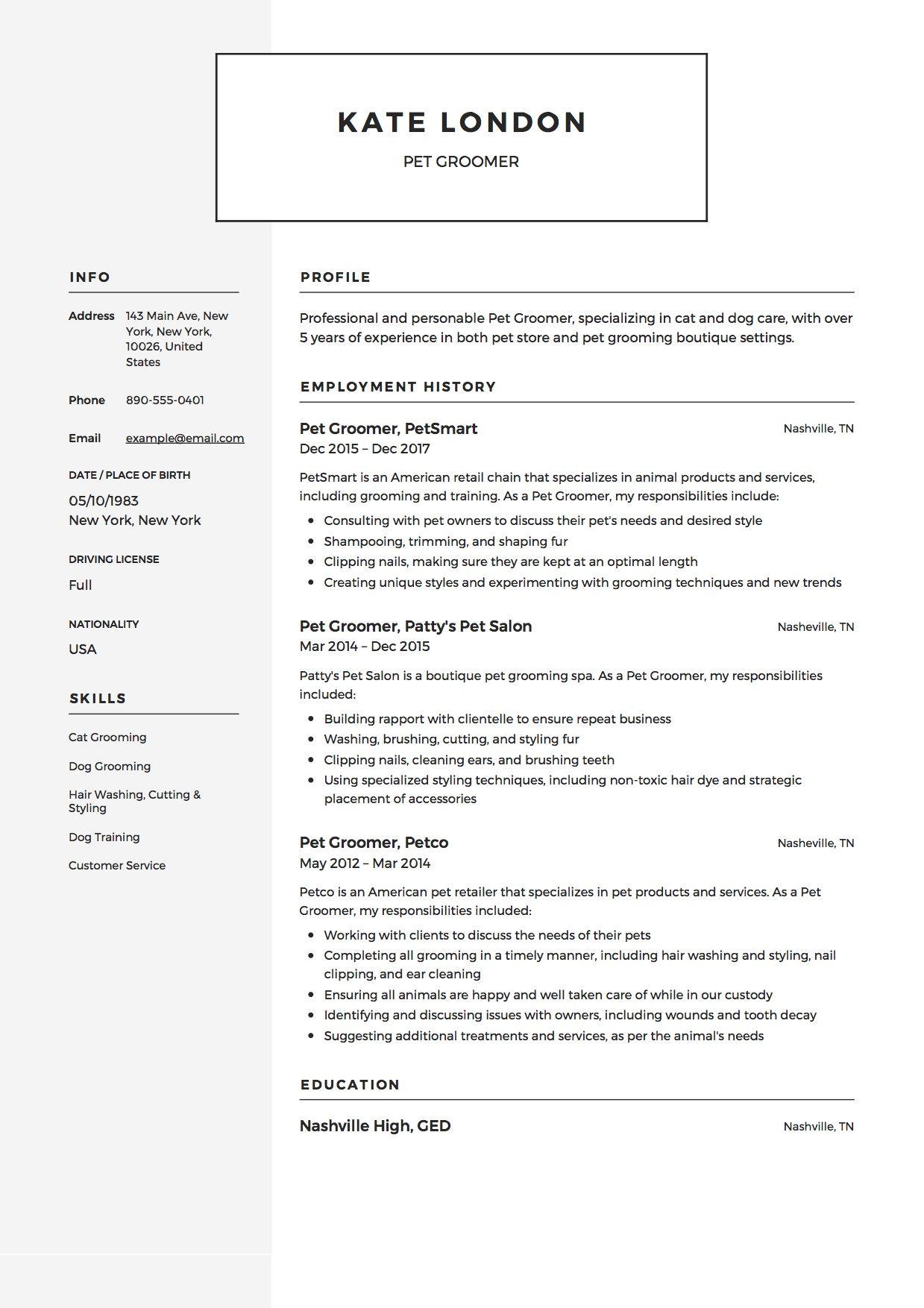 37+ Pet sitter resume wording ideas
