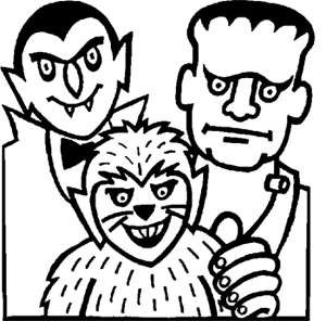 Free Kids Coloring Pages: Dracula, Frankenstein And Wolfman U2013 Printable  Activities U0026 Word Puzzles