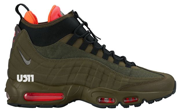 First look at the Nike Air Max 95 Sneakerboot Olive/Red-Black, striking new  take on the winterized classic runner.