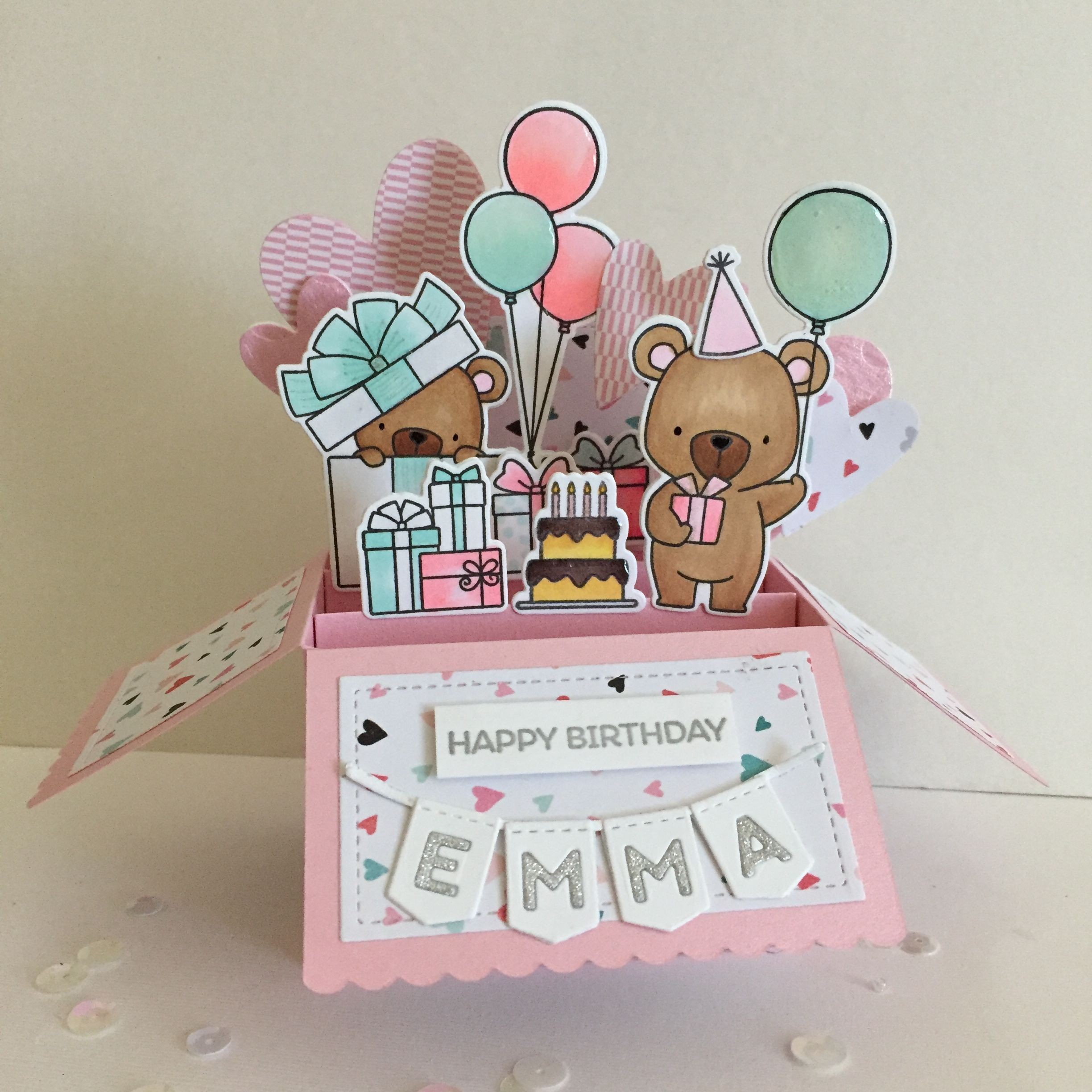 birthday pop up box card lawn fawn scalloped box card pop up die mft birthday bears stamps and. Black Bedroom Furniture Sets. Home Design Ideas