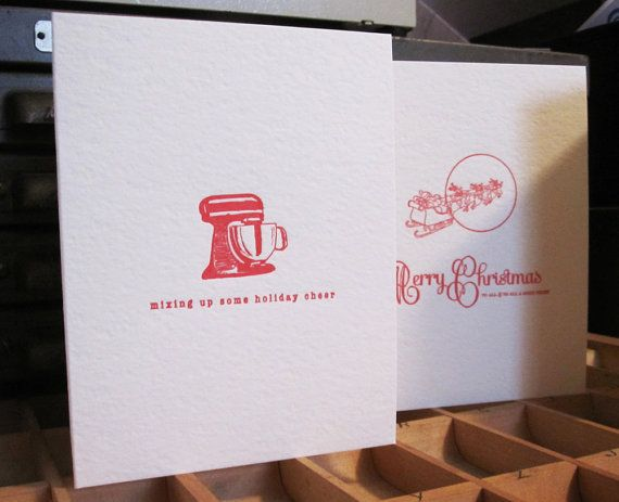 Letterpress Set of 25 Holiday Card - Kitchenaid (Etsy)
