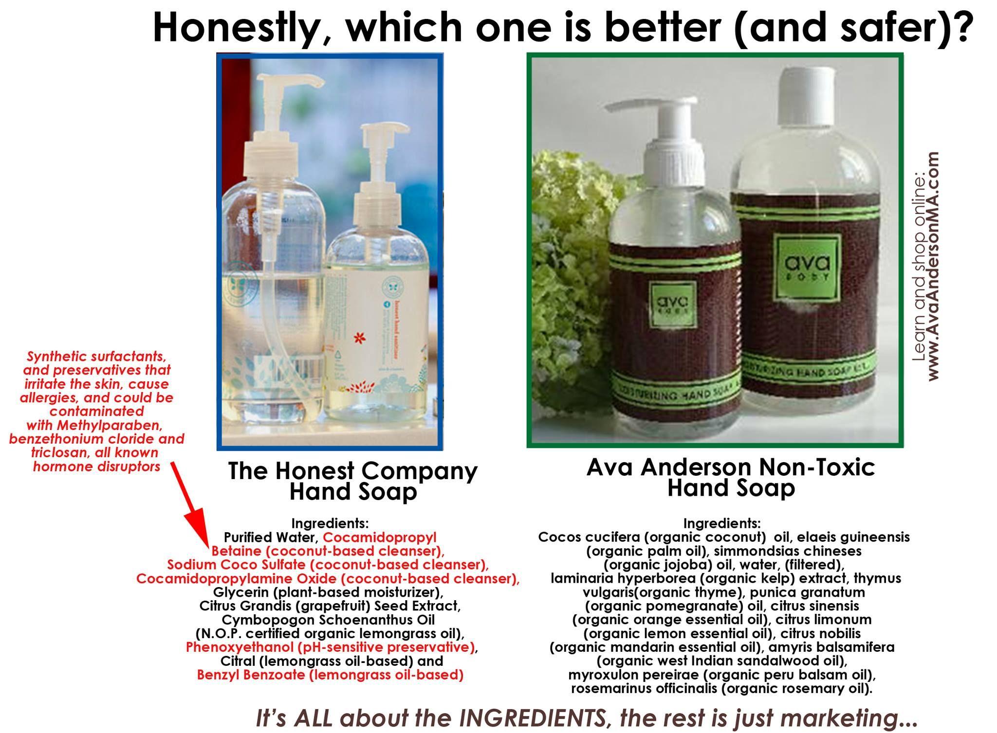 Honest Brand Hand Soap Versus Ava Anderson Ava Anderson