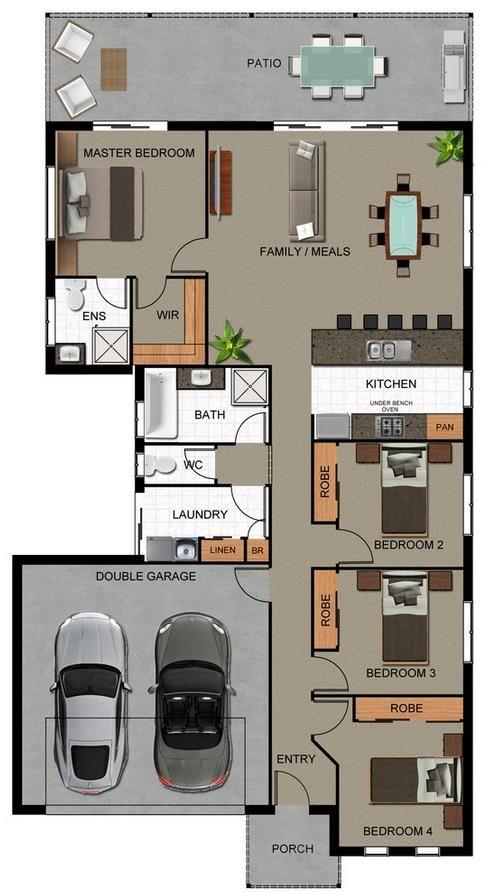 planos de casas pequenas 3 habitaciones con garaje