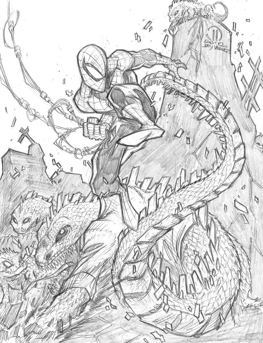 SPIDER-MAN Vs The LIZARD / Spider-Man Coloring Pages / SAILANY ... | 1172x900