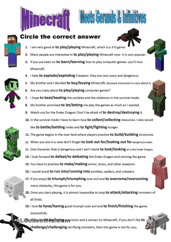 Minecraft Meets Gerunds & Infinitives | L2 | Pinterest | Met ...