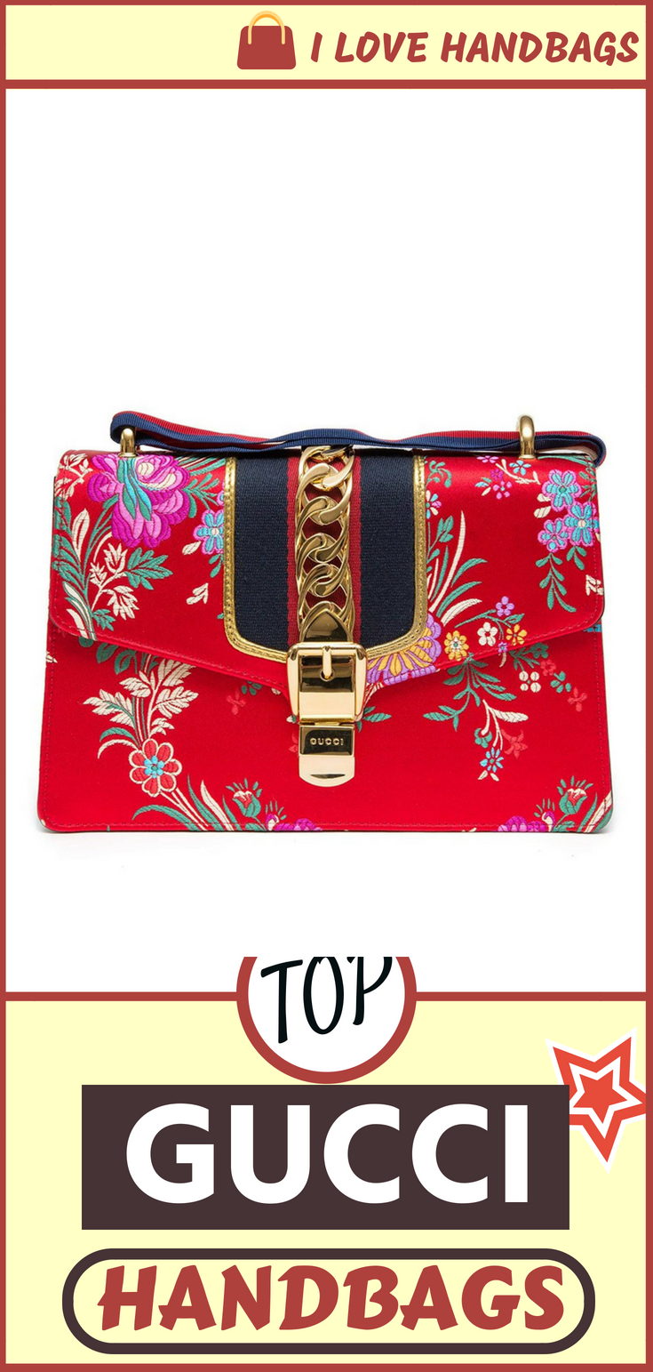 0c5a88e8a5c6 Gucci handbags for women   Gucci Sylvie Red Jacquard Floral Tokyo Silk  Small Bag Ribbon Leather