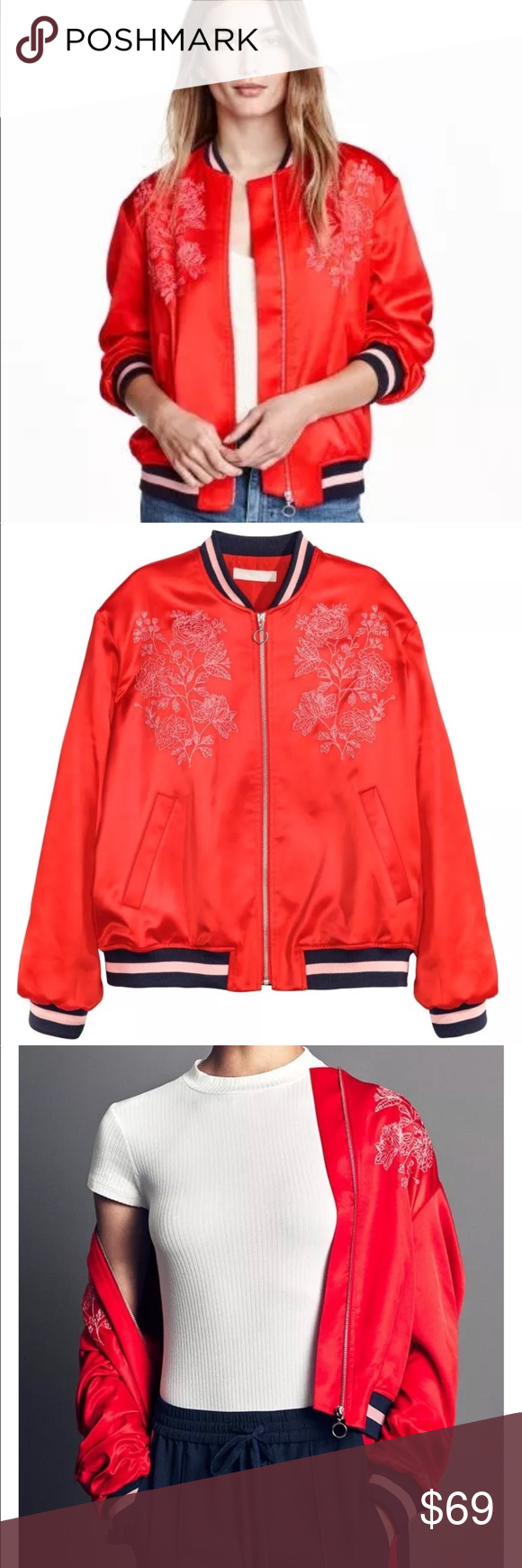 H M Red Satin Bomber Embroidered Silk Jacket Hm Brand New Never Worn Medium Sold Out Everywhere H M Bomber Silk Jacket Embroidered Silk Clothes Design [ 1740 x 580 Pixel ]