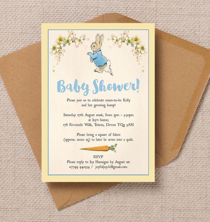 peter rabbit baby shower invitation | invitations, beatrix potter, Baby shower invitations