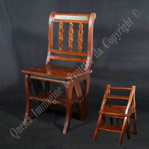 Antique Convertible Ladder Library Chair Step Stool Solid Wood Walnut Finish