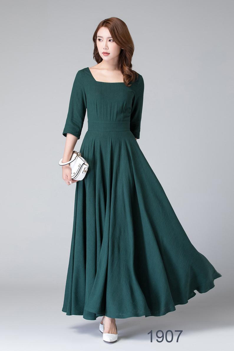 Schwarzes Leinenkleid, lange Maxi-Schaukel-Kleid, Langarm-Kleid