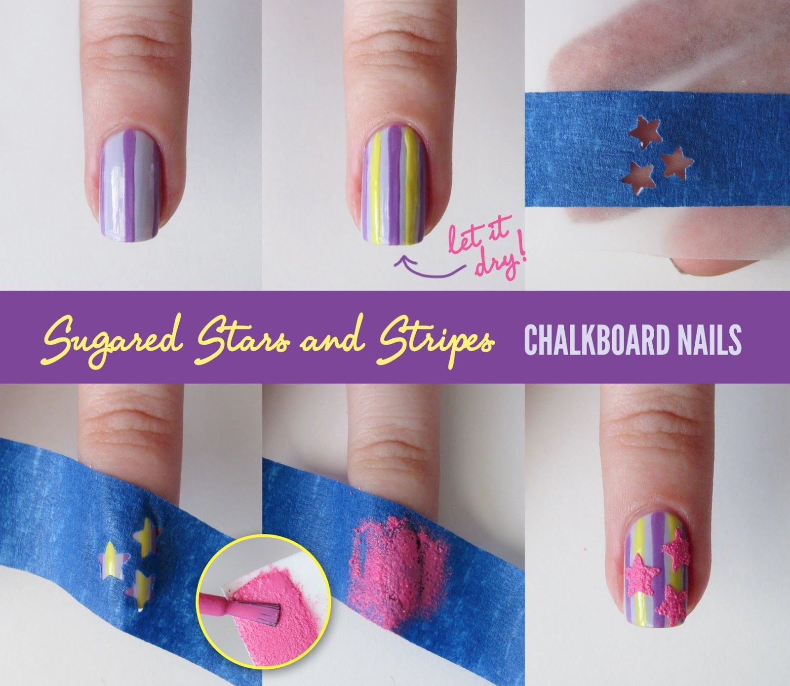 Chalkboard Nails Sugared Stars And Stripes Tutorial
