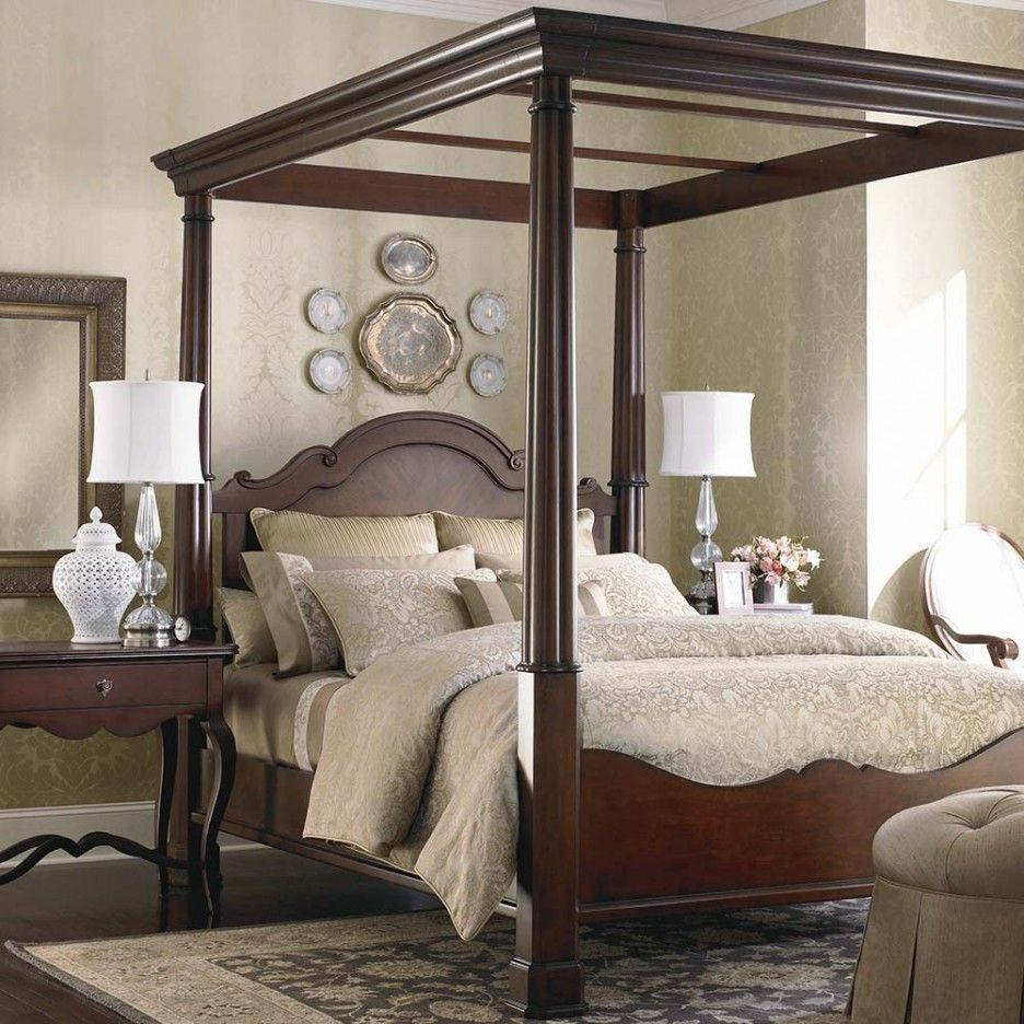 elegant-brown-varnished-wood-master-canopy-bed-design-gorgeous